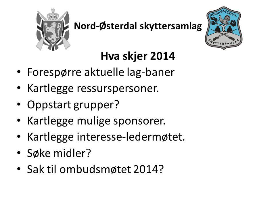 Nord-Østerdal skyttersamlag Hva skjer 2014 • Forespørre aktuelle lag-baner • Kartlegge ressurspersoner.