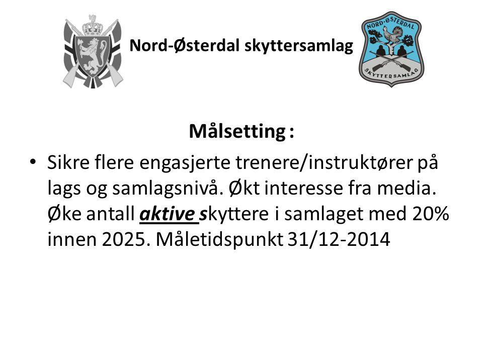 Nord-Østerdal skyttersamlag Målsetting : • Sikre flere engasjerte trenere/instruktører på lags og samlagsnivå.