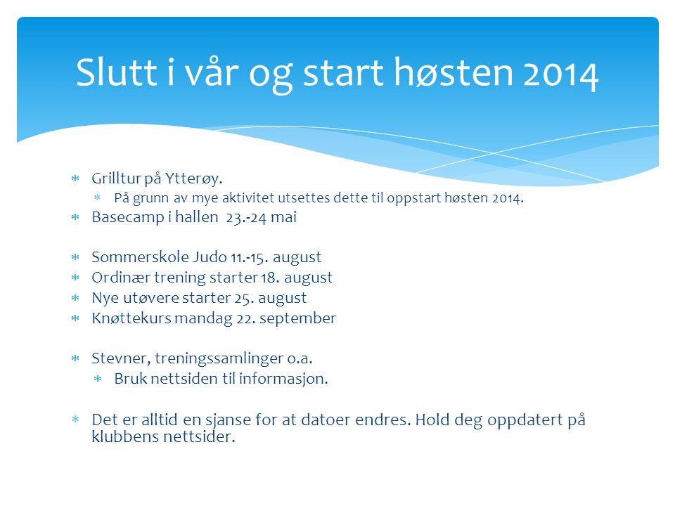  Grilltur på Ytterøy.  På grunn av mye aktivitet utsettes dette til oppstart høsten 2014.  Basecamp i hallen 23.-24 mai  Sommerskole Judo 11.-15.