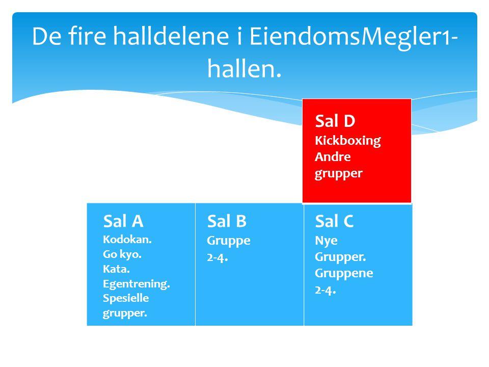 De fire halldelene i EiendomsMegler1- hallen. Sal A Kodokan. Go kyo. Kata. Egentrening. Spesielle grupper. Sal B Gruppe 2-4. Sal C Nye Grupper. Gruppe