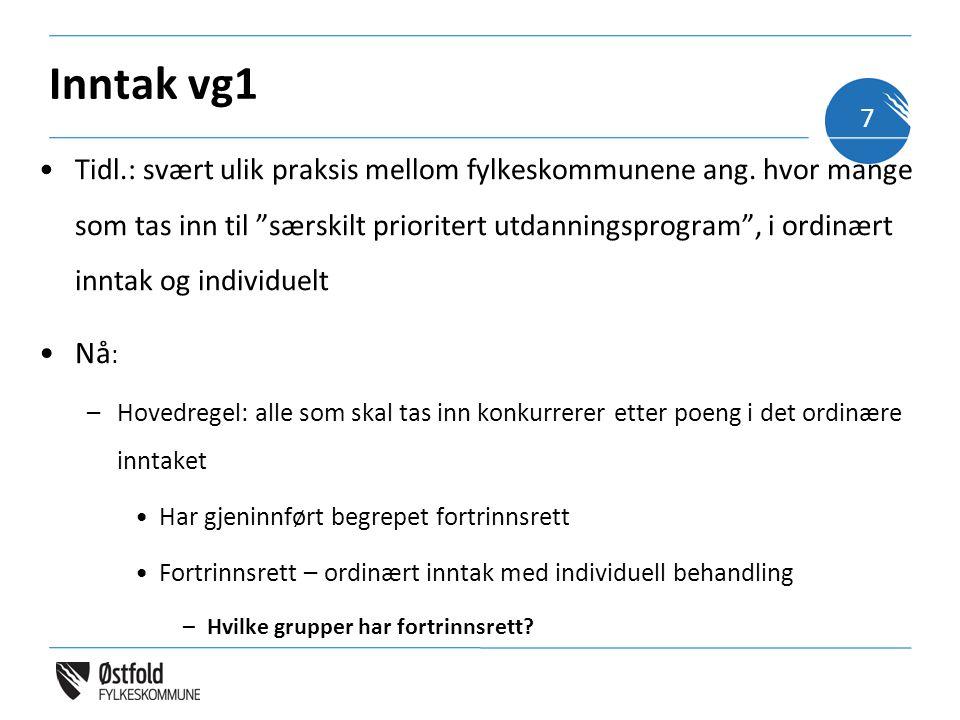 """Inntak vg1 •Tidl.: svært ulik praksis mellom fylkeskommunene ang. hvor mange som tas inn til """"særskilt prioritert utdanningsprogram"""", i ordinært innta"""