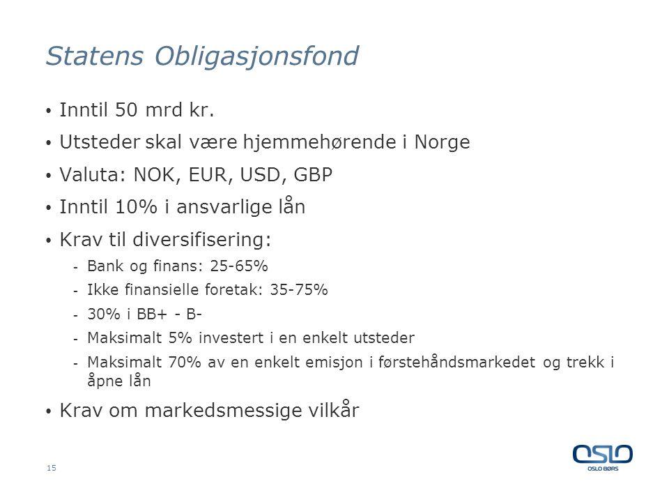Statens Obligasjonsfond • Inntil 50 mrd kr. • Utsteder skal være hjemmehørende i Norge • Valuta: NOK, EUR, USD, GBP • Inntil 10% i ansvarlige lån • Kr