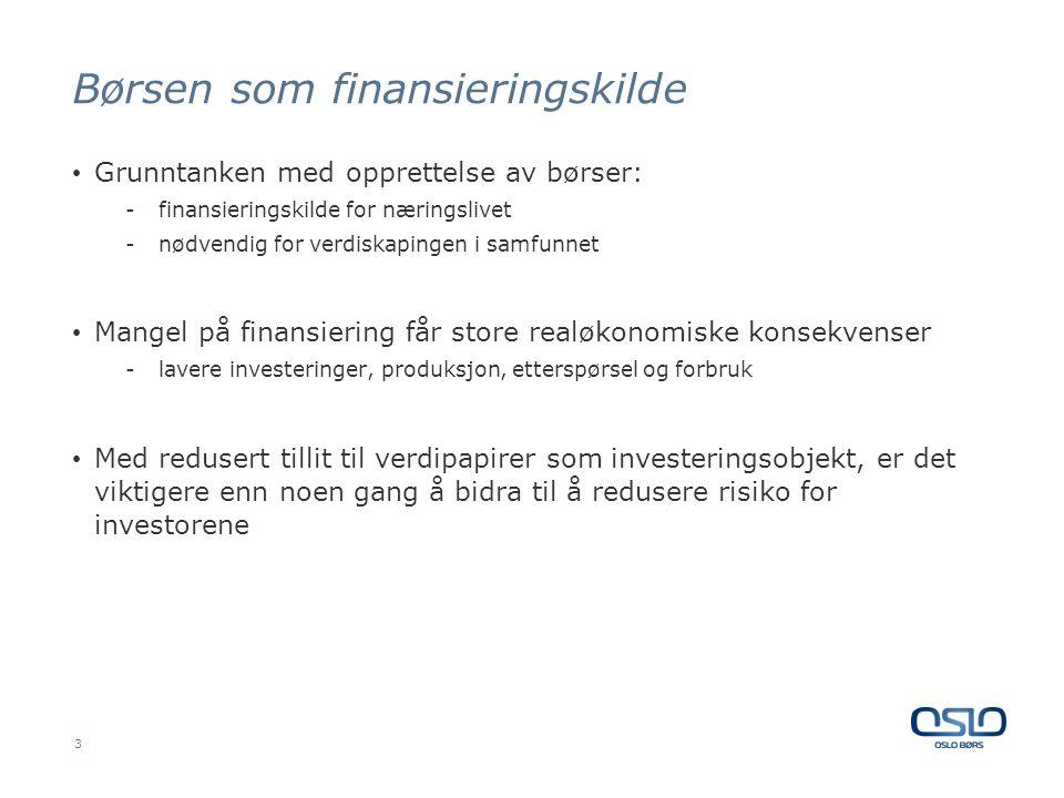 Børsen som finansieringskilde • Grunntanken med opprettelse av børser: -finansieringskilde for næringslivet -nødvendig for verdiskapingen i samfunnet