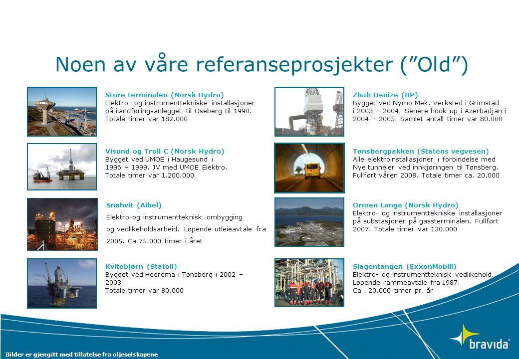 """Noen av våre referanseprosjekter (""""Old"""") Visund og Troll C (Norsk Hydro) Bygget ved UMOE i Haugesund i 1996 – 1999. JV med UMOE Elektro. Totale timer"""