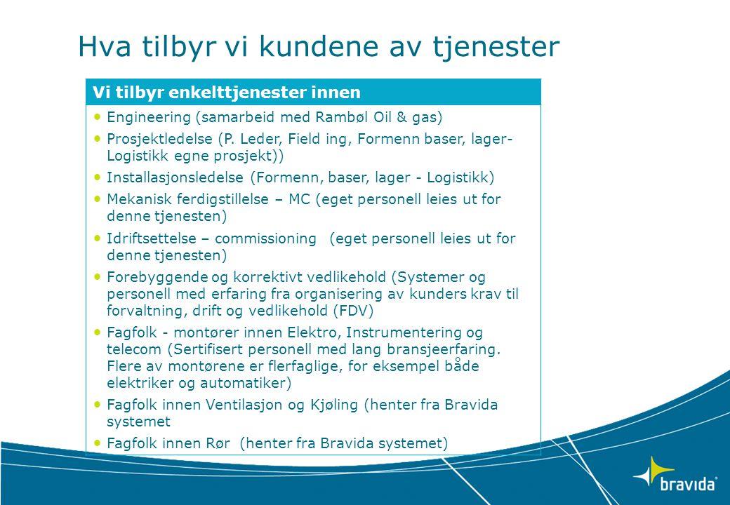 Hva tilbyr vi kundene av tjenester Vi tilbyr enkelttjenester innen • Engineering (samarbeid med Rambøl Oil & gas) • Prosjektledelse (P. Leder, Field i