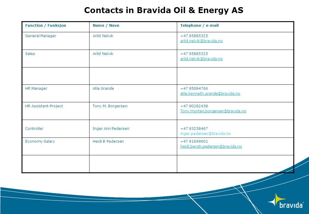 Function / FunksjonName / NavnTelephone / e-mail General ManagerArild Nelvik+47 95885325 arild.nelvik@bravida.no SalesArild Nelvik+47 95885325 arild.n