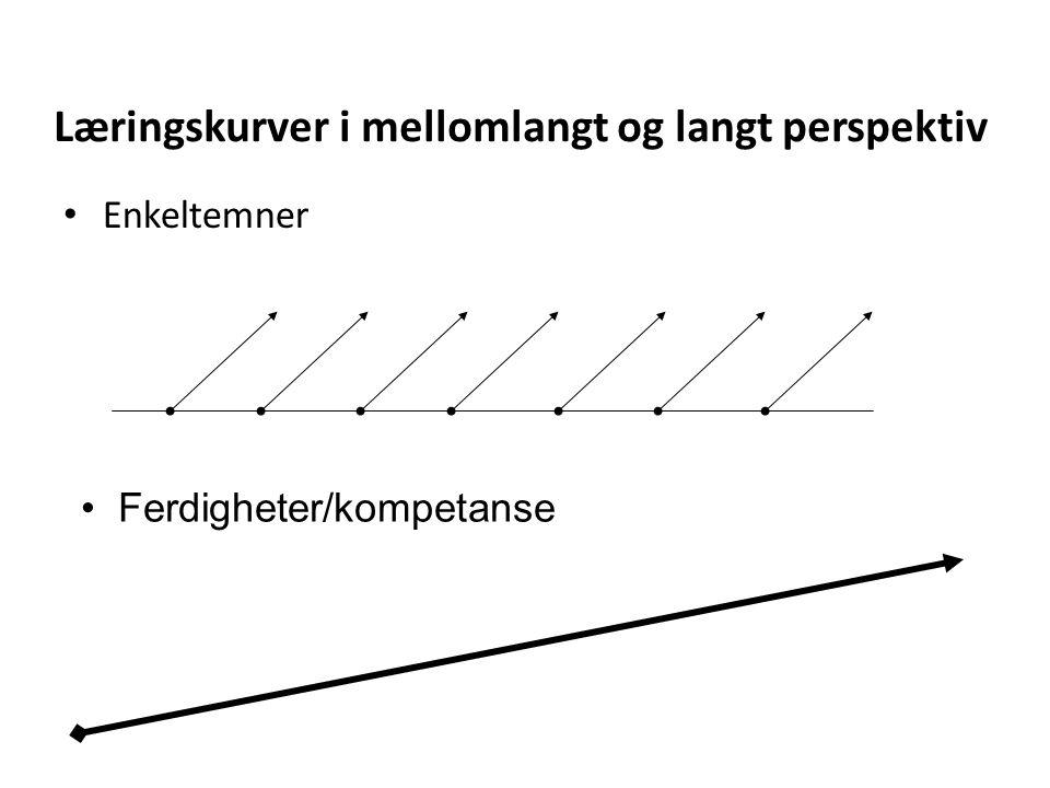Læringskurver i mellomlangt og langt perspektiv • Enkeltemner • Ferdigheter/kompetanse