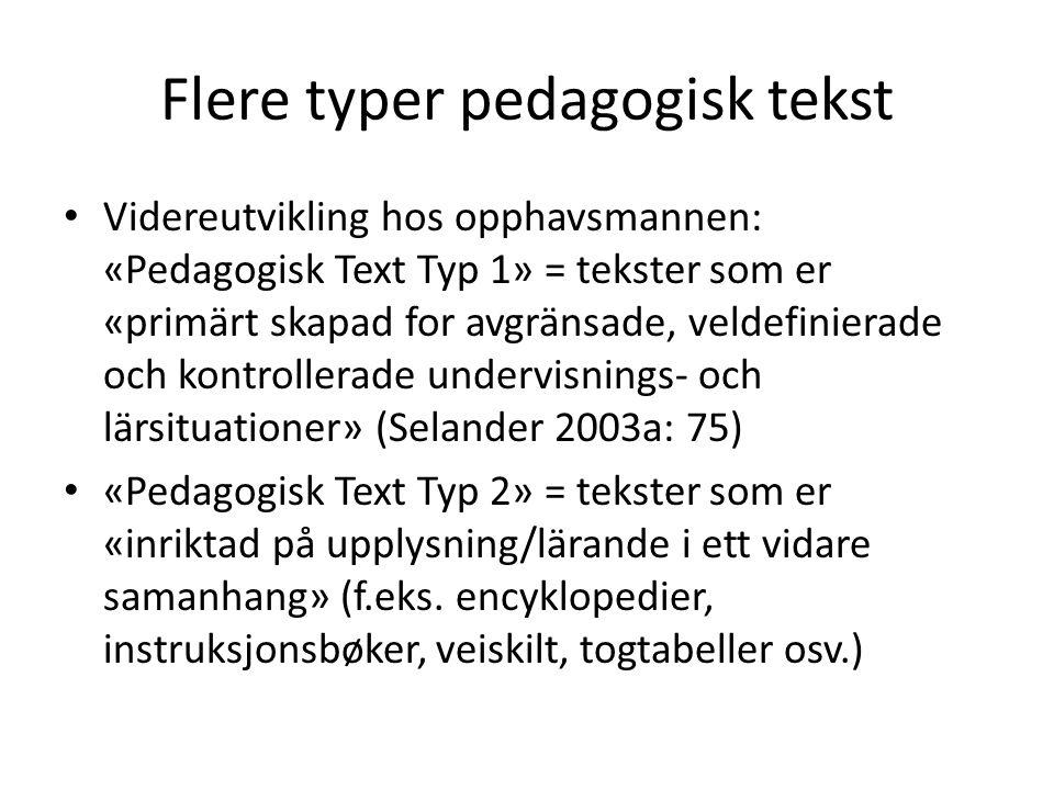 Flere typer pedagogisk tekst • Videreutvikling hos opphavsmannen: «Pedagogisk Text Typ 1» = tekster som er «primärt skapad for avgränsade, veldefinier