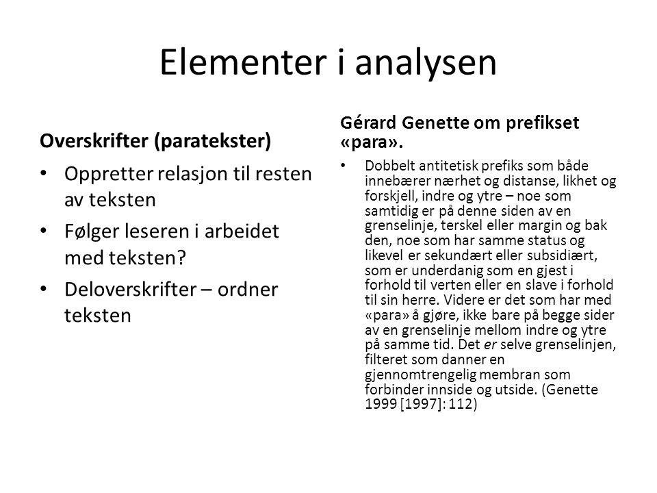 Elementer i analysen Overskrifter (paratekster) • Oppretter relasjon til resten av teksten • Følger leseren i arbeidet med teksten? • Deloverskrifter