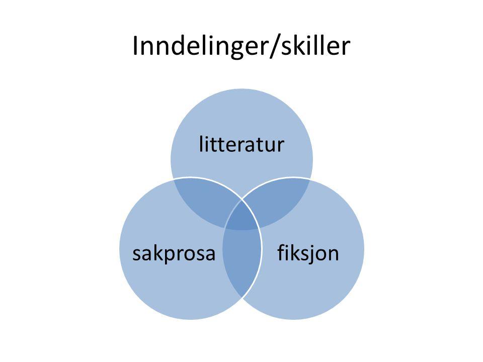 Inndelinger/skiller litteratur fiksjonsakprosa