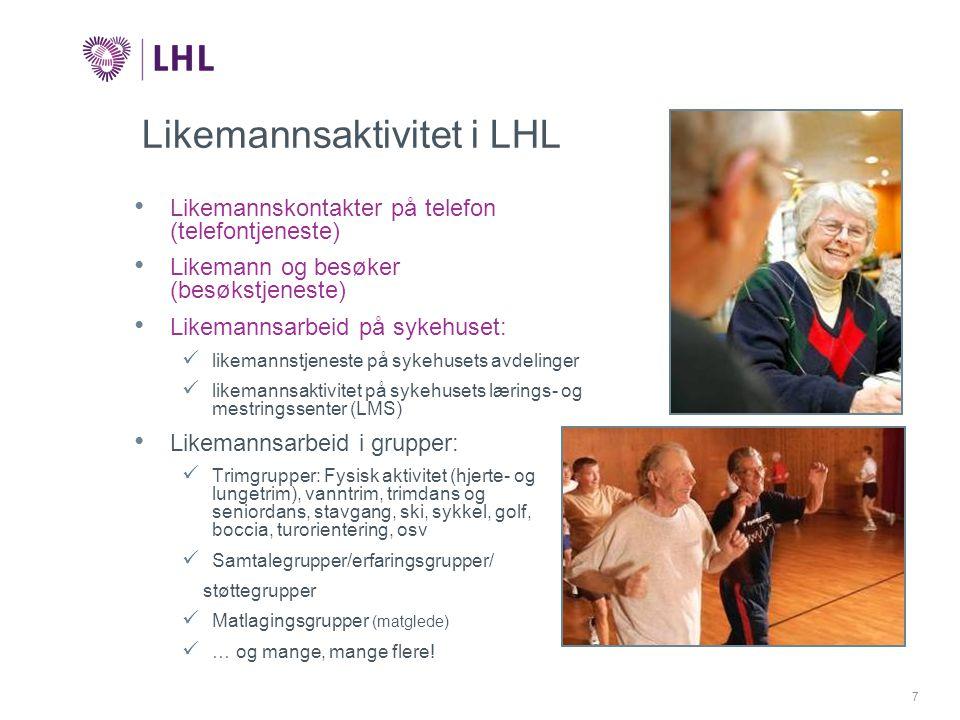 7 Likemannsaktivitet i LHL • Likemannskontakter på telefon (telefontjeneste) • Likemann og besøker (besøkstjeneste) • Likemannsarbeid på sykehuset:  likemannstjeneste på sykehusets avdelinger  likemannsaktivitet på sykehusets lærings- og mestringssenter (LMS) • Likemannsarbeid i grupper:  Trimgrupper: Fysisk aktivitet (hjerte- og lungetrim), vanntrim, trimdans og seniordans, stavgang, ski, sykkel, golf, boccia, turorientering, osv  Samtalegrupper/erfaringsgrupper/ støttegrupper  Matlagingsgrupper (matglede)  … og mange, mange flere!