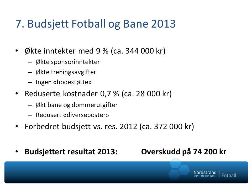 7. Budsjett Fotball og Bane 2013 • Økte inntekter med 9 % (ca. 344 000 kr) – Økte sponsorinntekter – Økte treningsavgifter – Ingen «hodestøtte» • Redu