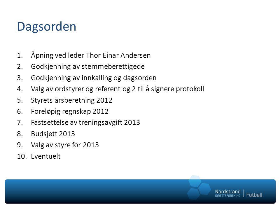 Dagsorden 1.Åpning ved leder Thor Einar Andersen 2.Godkjenning av stemmeberettigede 3.Godkjenning av innkalling og dagsorden 4.Valg av ordstyrer og re