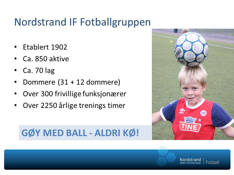 Nordstrand IF Fotballgruppen • Etablert 1902 • Ca. 850 aktive • Ca. 70 lag • Dommere (31 + 12 dommere) • Over 300 frivillige funksjonærer • Over 2250
