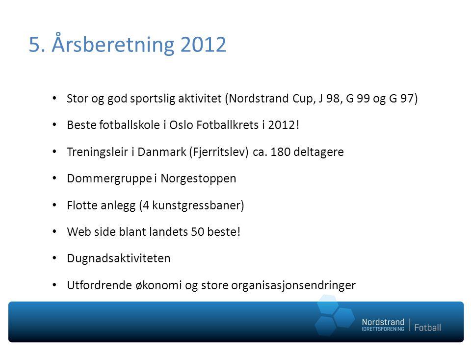 5. Årsberetning 2012 • Stor og god sportslig aktivitet (Nordstrand Cup, J 98, G 99 og G 97) • Beste fotballskole i Oslo Fotballkrets i 2012! • Trening