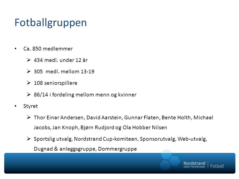 Fotballgruppen • Ca. 850 medlemmer  434 medl. under 12 år  305 medl.