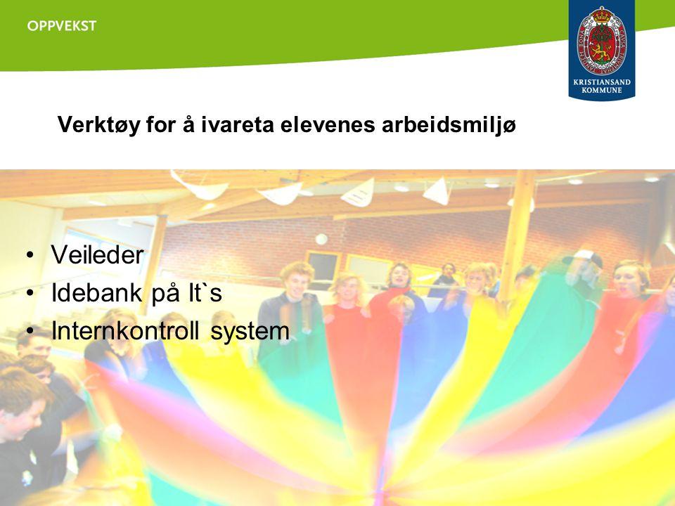 Verktøy for å ivareta elevenes arbeidsmiljø •Veileder •Idebank på It`s •Internkontroll system