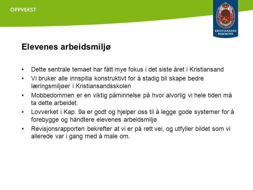 Elevenes arbeidsmiljø •Dette sentrale temaet har fått mye fokus i det siste året i Kristiansand •Vi bruker alle innspilla konstruktivt for å stadig bl