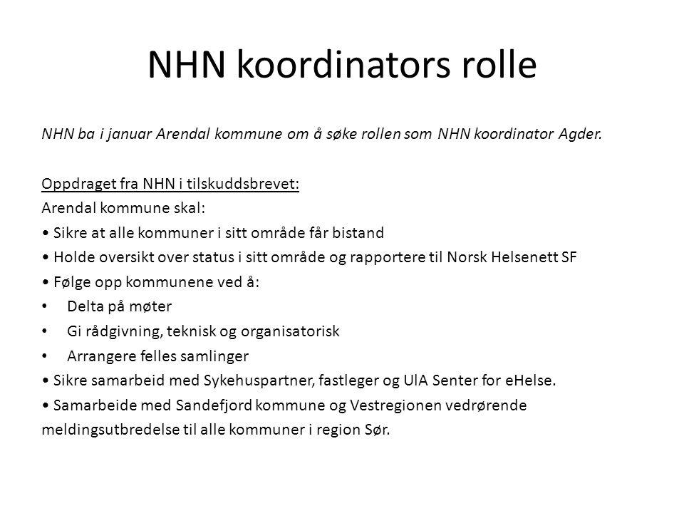 NHN koordinators rolle NHN ba i januar Arendal kommune om å søke rollen som NHN koordinator Agder. Oppdraget fra NHN i tilskuddsbrevet: Arendal kommun