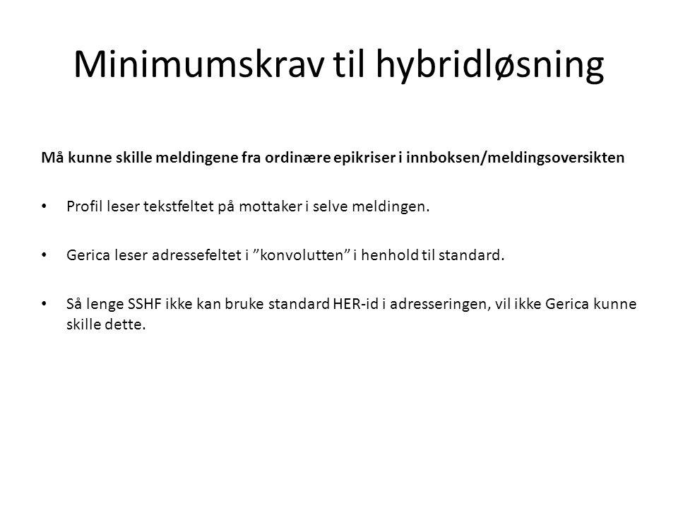 Minimumskrav til hybridløsning Må kunne skille meldingene fra ordinære epikriser i innboksen/meldingsoversikten • Profil leser tekstfeltet på mottaker