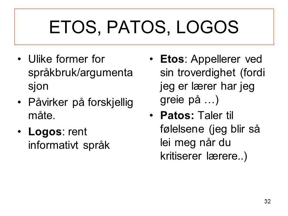 ETOS, PATOS, LOGOS •Ulike former for språkbruk/argumenta sjon •Påvirker på forskjellig måte. •Logos: rent informativt språk •Etos: Appellerer ved sin