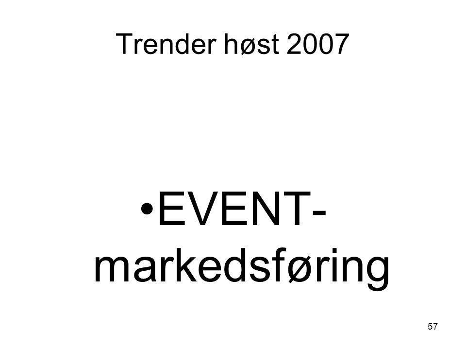 Trender høst 2007 •EVENT- markedsføring 57