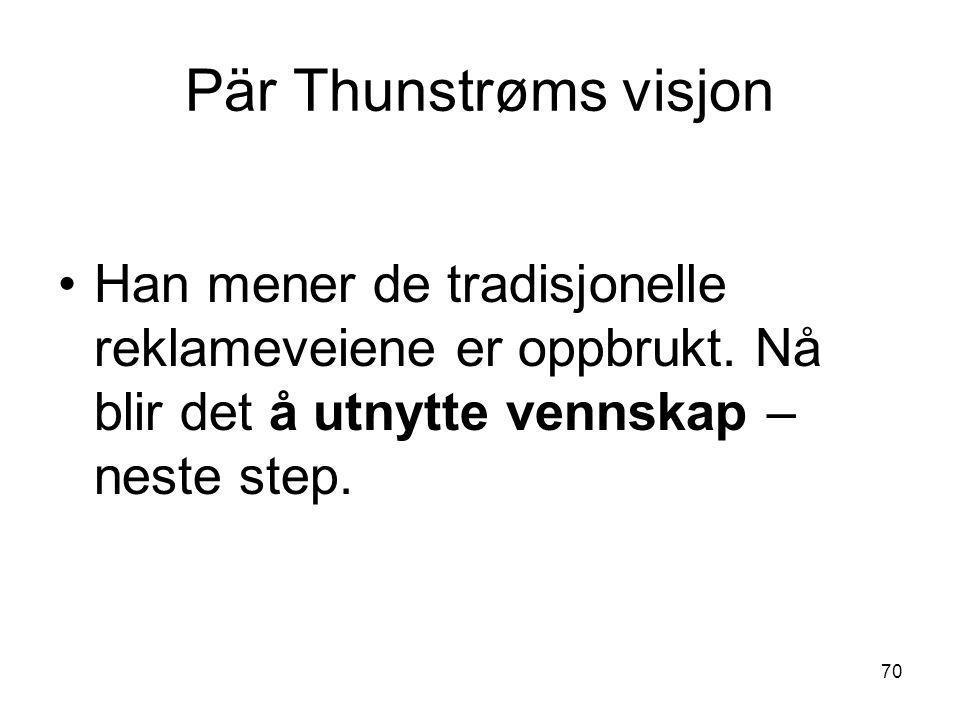 Pär Thunstrøms visjon •Han mener de tradisjonelle reklameveiene er oppbrukt. Nå blir det å utnytte vennskap – neste step. 70