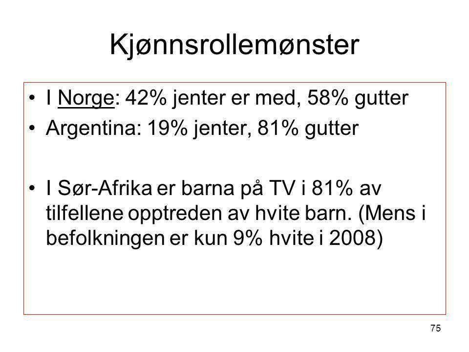 Kjønnsrollemønster •I Norge: 42% jenter er med, 58% gutter •Argentina: 19% jenter, 81% gutter •I Sør-Afrika er barna på TV i 81% av tilfellene opptred