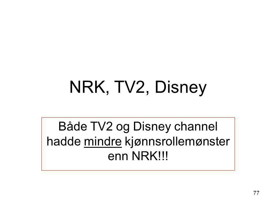 NRK, TV2, Disney Både TV2 og Disney channel hadde mindre kjønnsrollemønster enn NRK!!! 77