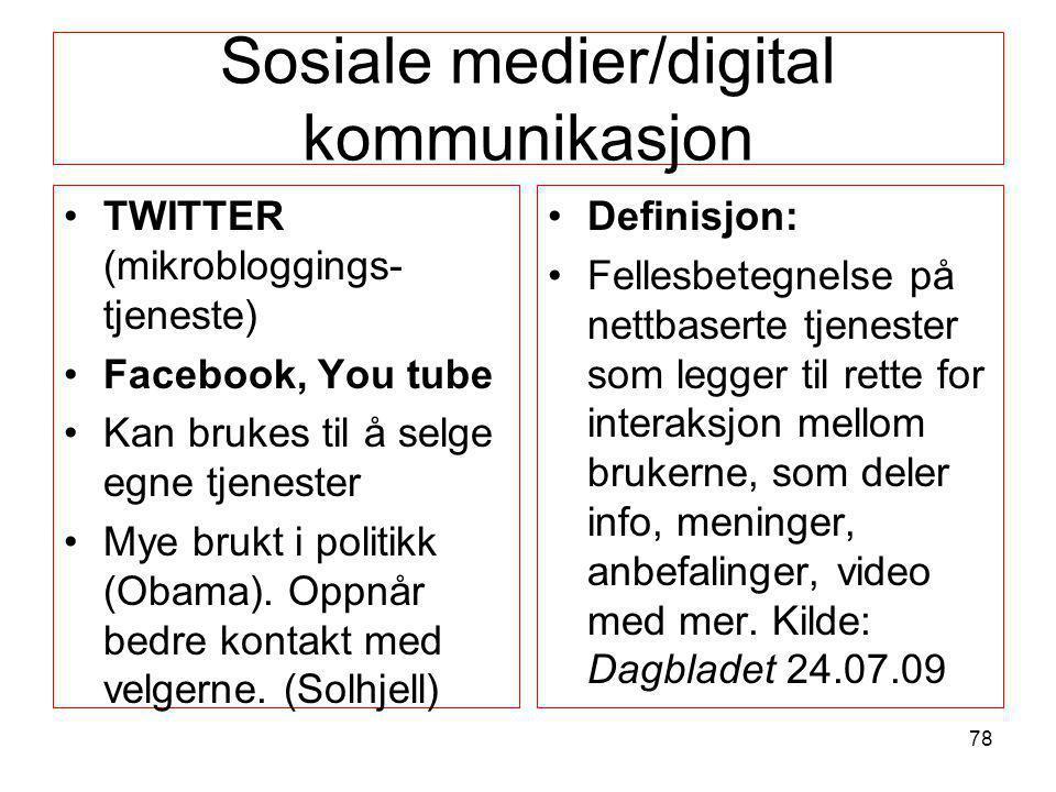 Sosiale medier/digital kommunikasjon •TWITTER (mikrobloggings- tjeneste) •Facebook, You tube •Kan brukes til å selge egne tjenester •Mye brukt i polit