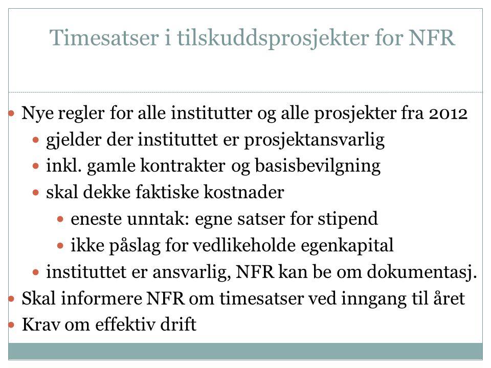 Timesatser i tilskuddsprosjekter for NFR  Nye regler for alle institutter og alle prosjekter fra 2012  gjelder der instituttet er prosjektansvarlig