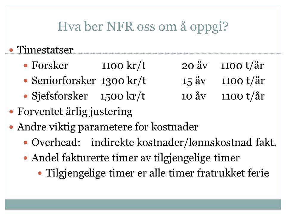 Hva ber NFR oss om å oppgi?  Timestatser  Forsker 1100 kr/t 20 åv 1100 t/år  Seniorforsker 1300 kr/t 15 åv 1100 t/år  Sjefsforsker 1500 kr/t 10 åv