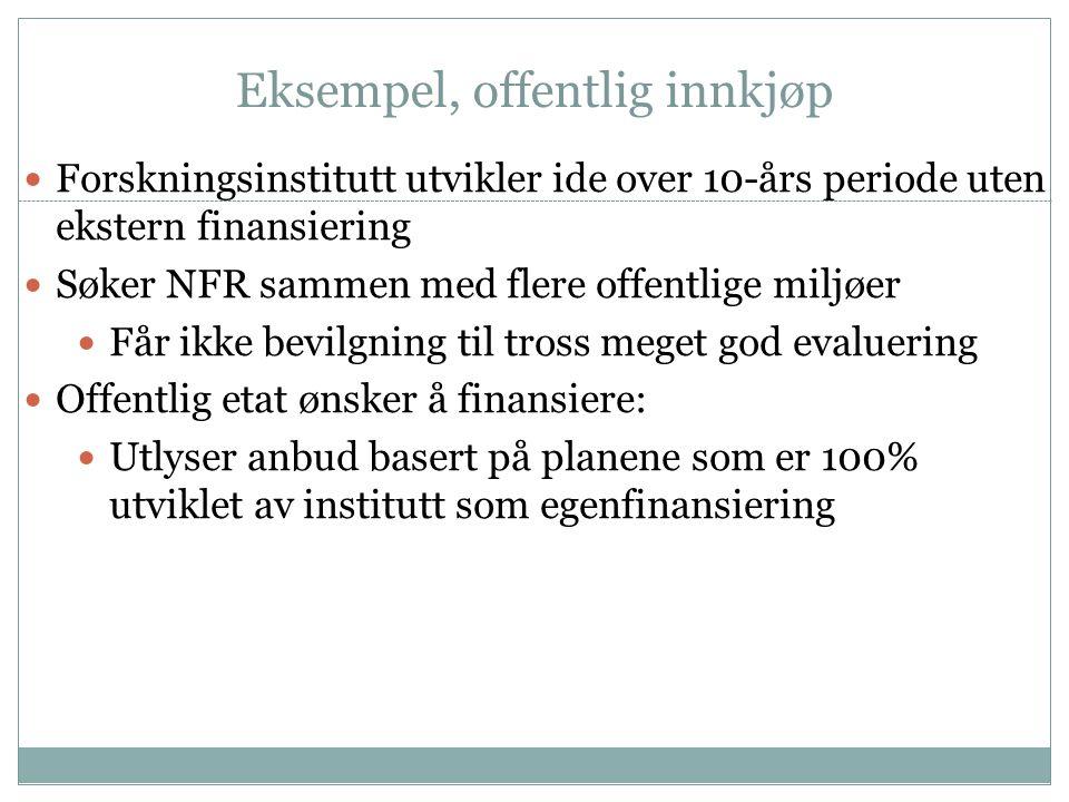 Eksempel, offentlig innkjøp  Forskningsinstitutt utvikler ide over 10-års periode uten ekstern finansiering  Søker NFR sammen med flere offentlige m