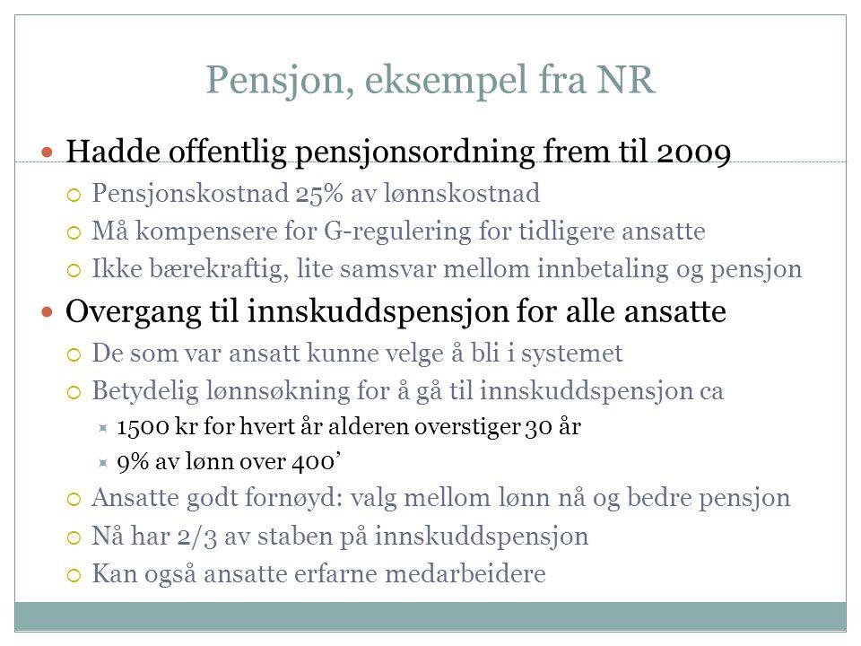 Pensjon, eksempel fra NR  Hadde offentlig pensjonsordning frem til 2009  Pensjonskostnad 25% av lønnskostnad  Må kompensere for G-regulering for ti