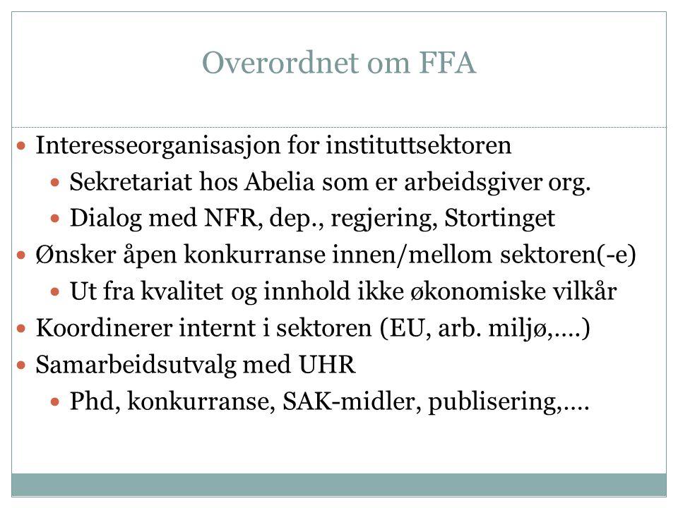 Overordnet om FFA  Interesseorganisasjon for instituttsektoren  Sekretariat hos Abelia som er arbeidsgiver org.  Dialog med NFR, dep., regjering, S