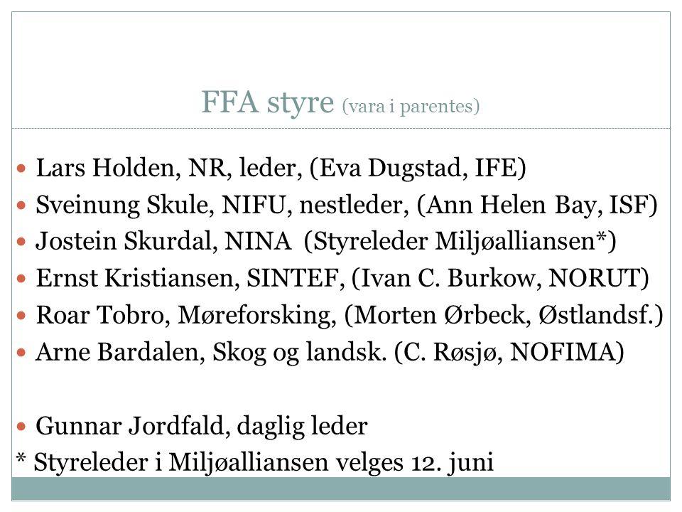 FFA styre (vara i parentes)  Lars Holden, NR, leder, (Eva Dugstad, IFE)  Sveinung Skule, NIFU, nestleder, (Ann Helen Bay, ISF)  Jostein Skurdal, NI