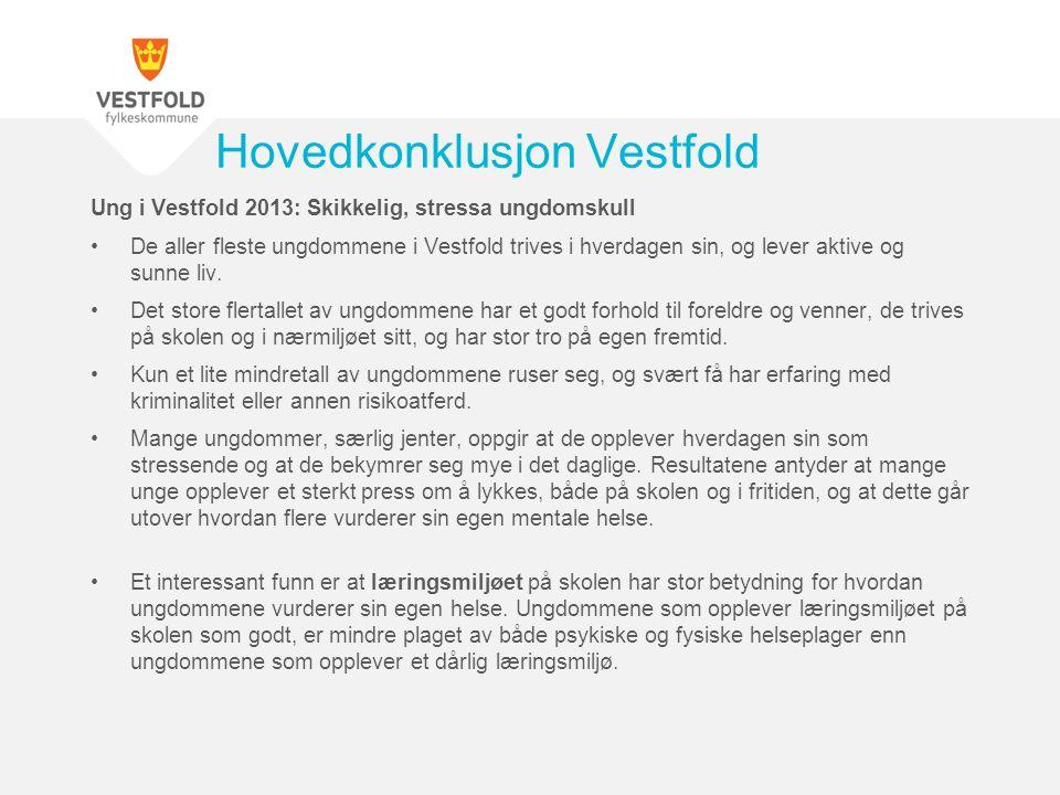Ung i Vestfold 2013: Skikkelig, stressa ungdomskull •De aller fleste ungdommene i Vestfold trives i hverdagen sin, og lever aktive og sunne liv. •Det
