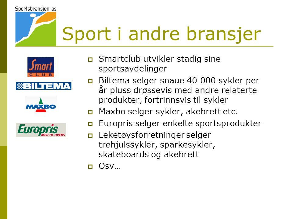 Sport i andre bransjer  Smartclub utvikler stadig sine sportsavdelinger  Biltema selger snaue 40 000 sykler per år pluss drøssevis med andre relaterte produkter, fortrinnsvis til sykler  Maxbo selger sykler, akebrett etc.
