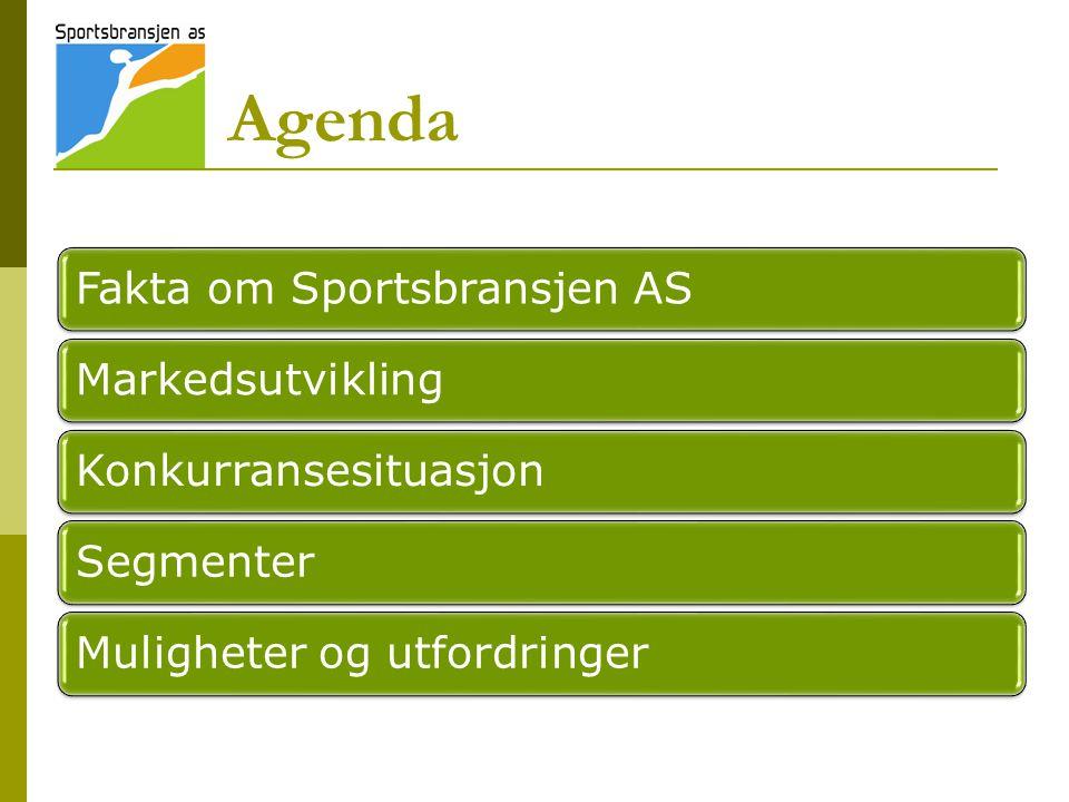 Agenda Fakta om Sportsbransjen ASMarkedsutviklingKonkurransesituasjonSegmenterMuligheter og utfordringer