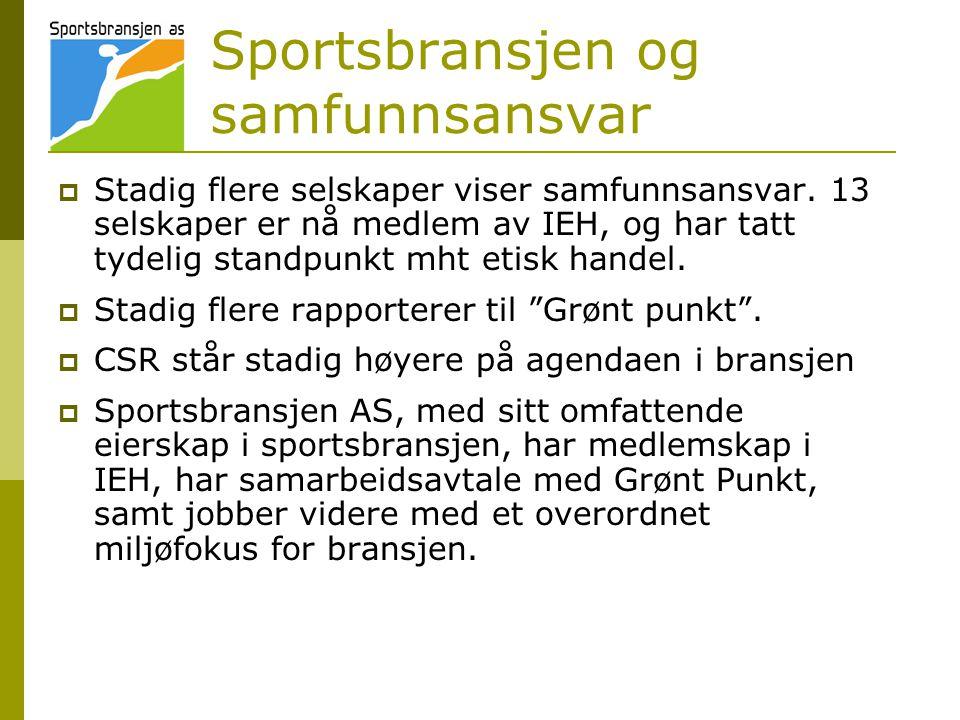Sportsbransjen og samfunnsansvar  Stadig flere selskaper viser samfunnsansvar. 13 selskaper er nå medlem av IEH, og har tatt tydelig standpunkt mht e