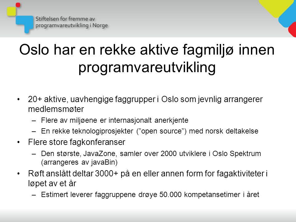 Oslo har en rekke aktive fagmiljø innen programvareutvikling •20+ aktive, uavhengige faggrupper i Oslo som jevnlig arrangerer medlemsmøter –Flere av miljøene er internasjonalt anerkjente –En rekke teknologiprosjekter ( open source ) med norsk deltakelse •Flere store fagkonferanser –Den største, JavaZone, samler over 2000 utviklere i Oslo Spektrum (arrangeres av javaBin) •Røft anslått deltar 3000+ på en eller annen form for fagaktiviteter i løpet av et år –Estimert leverer faggruppene drøye 50.000 kompetansetimer i året