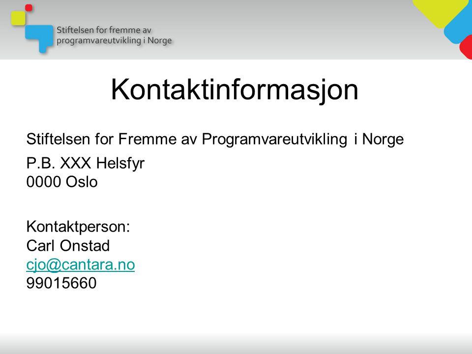 Kontaktinformasjon Stiftelsen for Fremme av Programvareutvikling i Norge P.B.