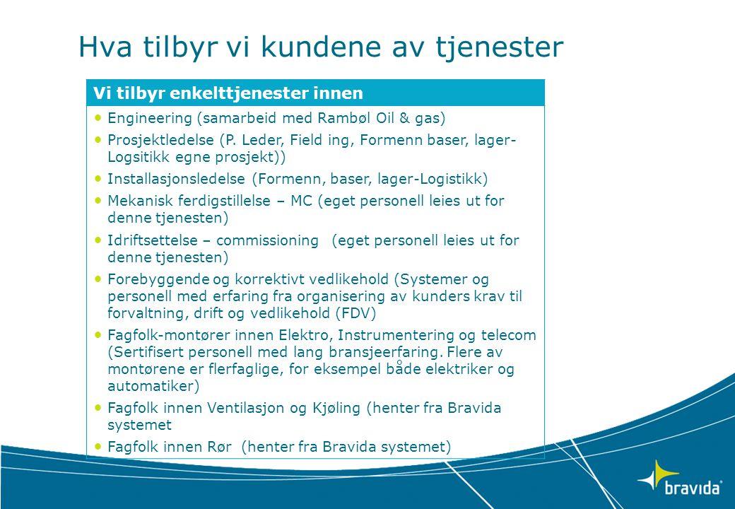 Hva tilbyr vi kundene av tjenester Vi tilbyr enkelttjenester innen • Engineering (samarbeid med Rambøl Oil & gas) • Prosjektledelse (P.