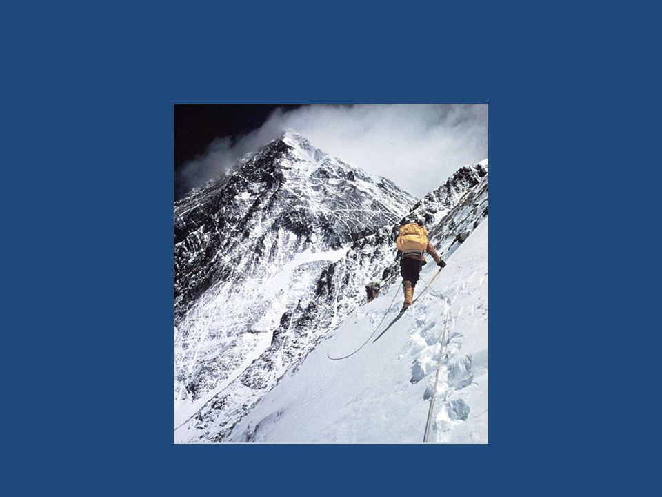 Verdens tak • Himalaya: fjellkjede på grensen mellom India, Pakistan og Kina • Verden 110 høyeste topper ligger her • Mount Everest 8844 moh • Ekstreme værforhold, minus 36 grader • Dødssone for fjellklatrere - Lite oksygen i lufta - Kroppsfunksjoner stopper