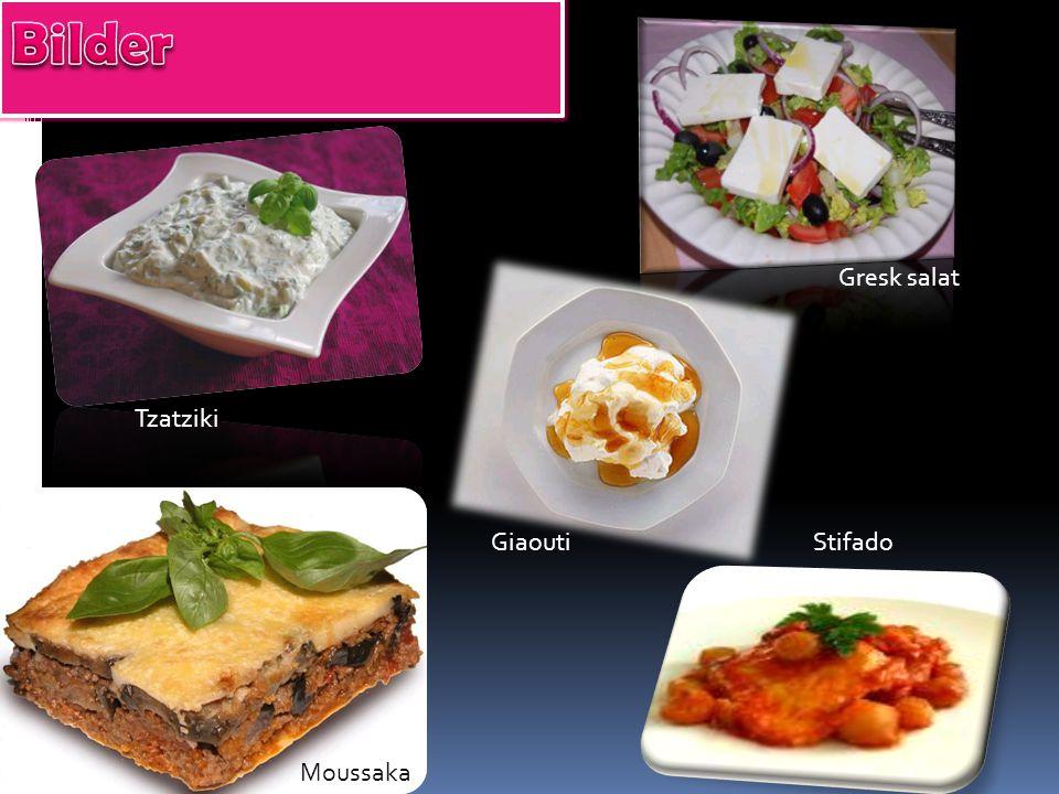 Gresk salat Tzatziki Moussaka GiaoutiStifado