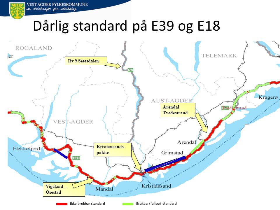 Tvedestrand Ikke brukbar standardBrukbar/fullgod standard Dårlig standard på E39 og E18 Vigeland – Osestad Arendal Tvedestrand Kristiansands- pakke Rv