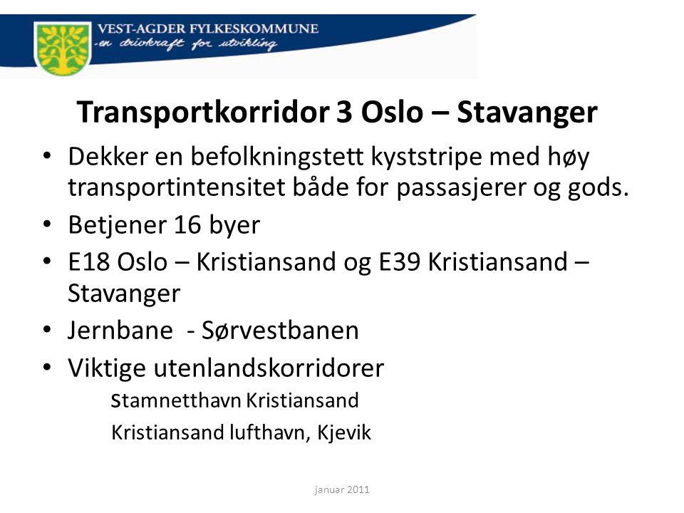 Transportkorridor 3 Oslo – Stavanger • Dekker en befolkningstett kyststripe med høy transportintensitet både for passasjerer og gods. • Betjener 16 by