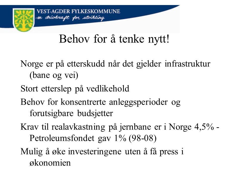 Behov for å tenke nytt! Norge er på etterskudd når det gjelder infrastruktur (bane og vei) Stort etterslep på vedlikehold Behov for konsentrerte anleg