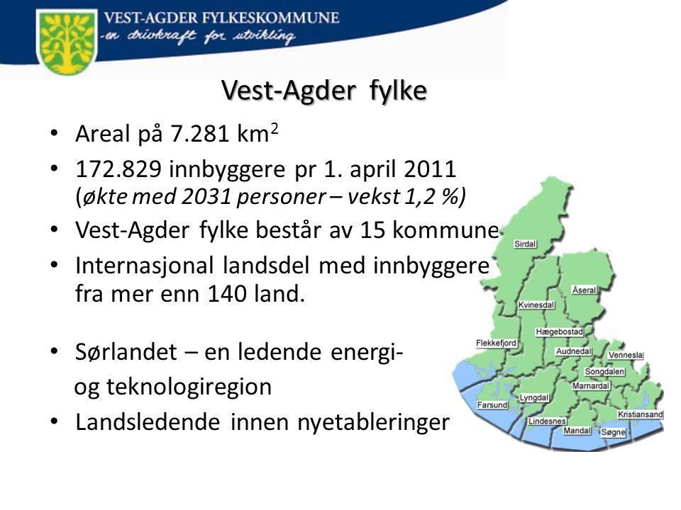 Vest-Agder fylke • Areal på 7.281 km 2 • 172.829 innbyggere pr 1. april 2011 (økte med 2031 personer – vekst 1,2 %) • Vest-Agder fylke består av 15 ko