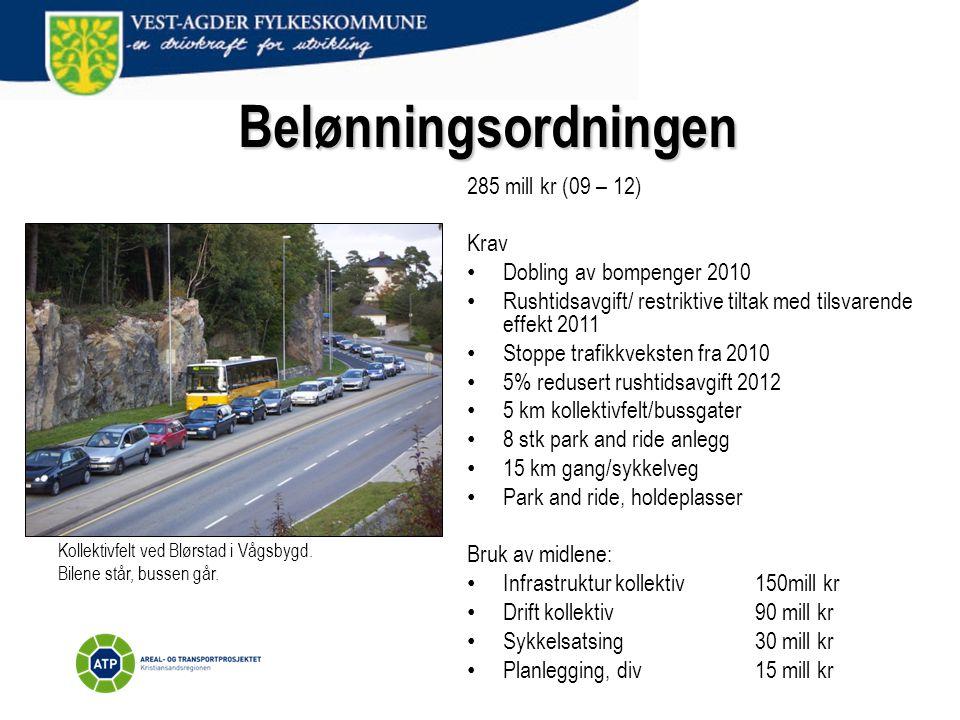 Belønningsordningen 285 mill kr (09 – 12) Krav • Dobling av bompenger 2010 • Rushtidsavgift/ restriktive tiltak med tilsvarende effekt 2011 • Stoppe t